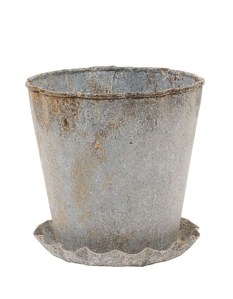 Vintage Washed Zinc Finish Pot with Pleated Lip and Saucer | 5-in
