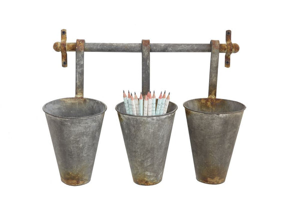 Rustic Metal Wall Rack with 3 Hanging Tin Pots | 15-1/4-in