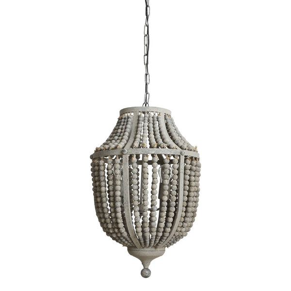 Metal Chandelier with Distressed Grey Wood Beads - 27-1/4-in