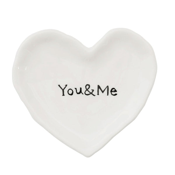 You & Me - Ceramic Heart Shaped Dish - 4-1/2-in