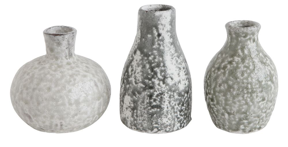 Terra-Cotta Vase with Distressed, Textured Gray Surface - Set of 3