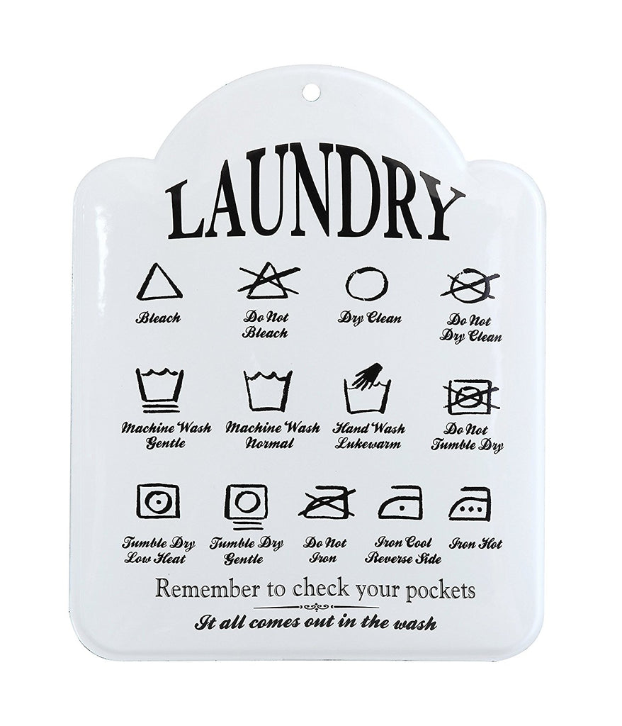Baked Enameled Metal Laundry Care Chart Wall Décor | 18-3/4-in