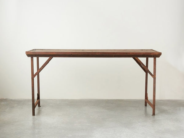 Found Wood and Metal Folding Tent Table - 60-in