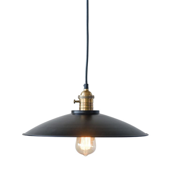 Metal and Brass High Hat Pendant Lamp | 19-in