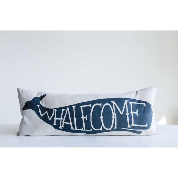 Whalecome - Large Cotton Throw Pillow - 32-in