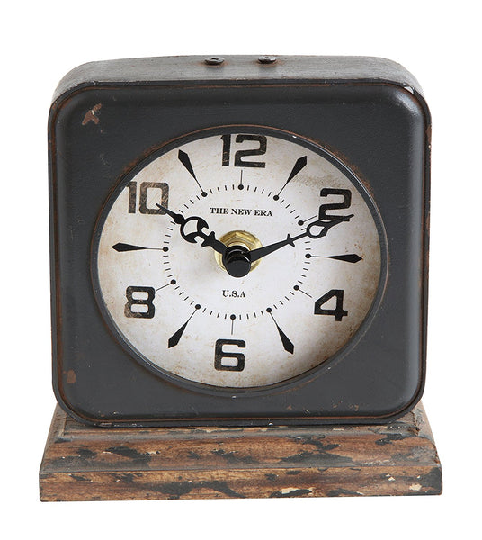 Distressed Vintage Pewter Table Clock | 8-1/2-in
