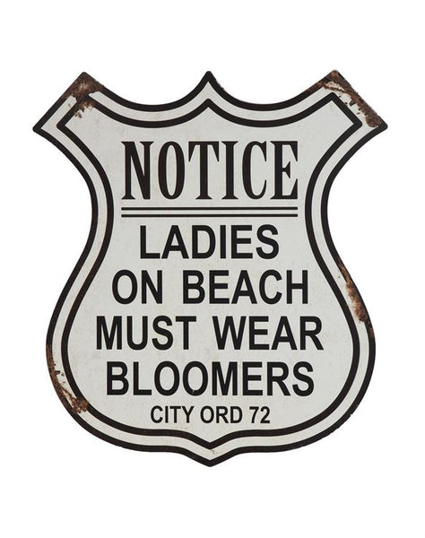 Notice Ladies On Beach Must Wear Bloomers | Vintage Metal Wall Decor | 19-3/4-in