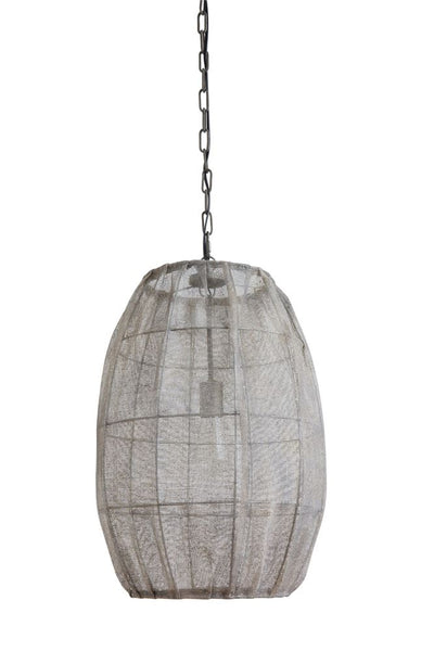 Round Pendant Lamp with Jute Screen | 24-in