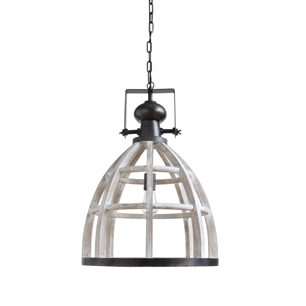 Wood and Metal Hanging Pendant Lamp - 18-3/4-in Dia x 28-in H