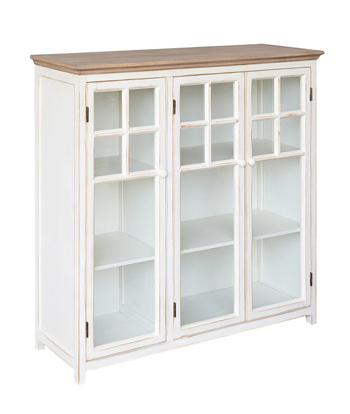Freestanding Storage Cabinet With Three Wood and Glass Doors - Cream