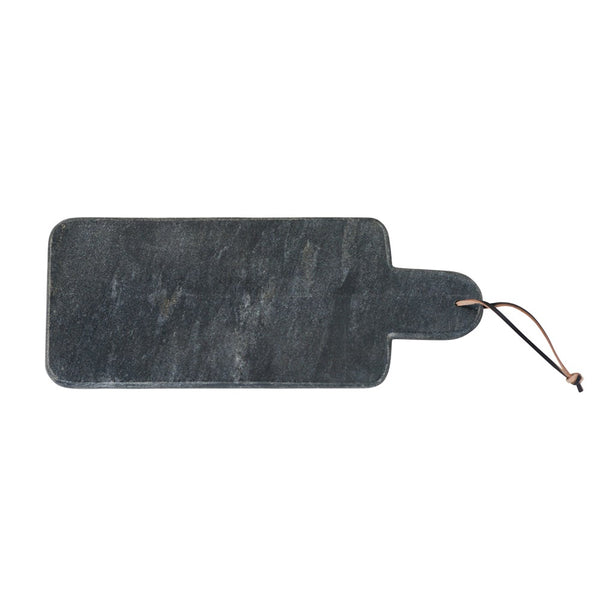 Rectangular Black Marble Leather Strap Cheese Cutting Board - Gray - 15-in