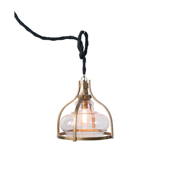 Glass & Metal Pendant Light with Black Jute Cord - Gold - 16-in