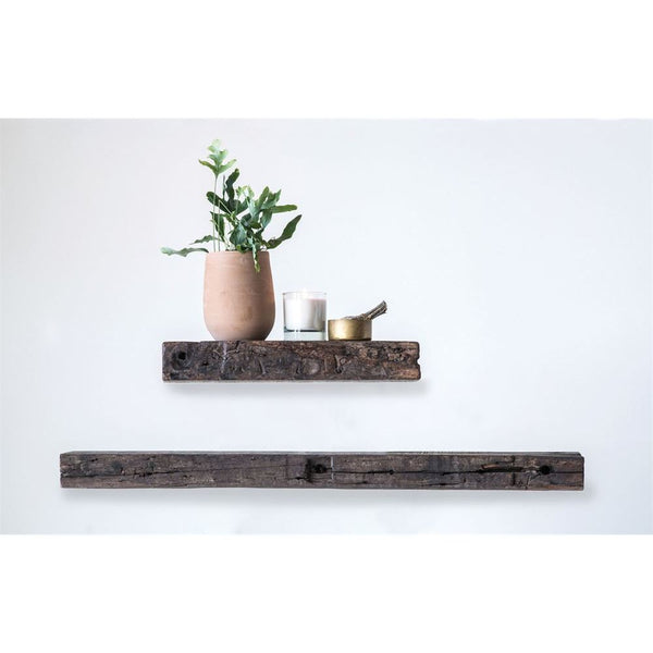 Reclaimed Floating Wood Wall Shelf - 30-in