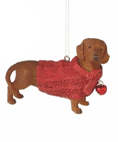 Lap Dog in Red Sweater Holiday Christmas Ornament - Mellow Monkey  - 2