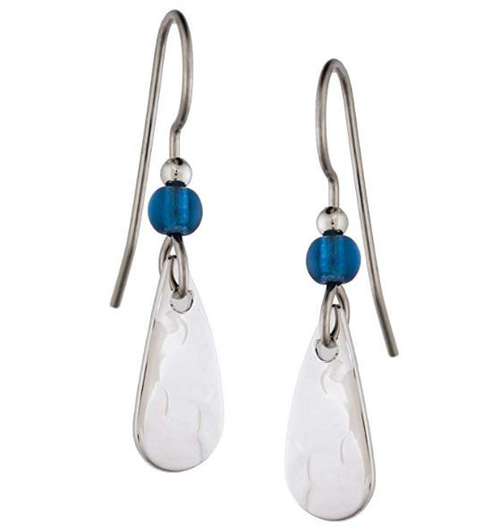 Silver Forest Silver-tone Drop Earrings with Blue Bead