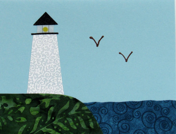 Lighthouse and Coastline - Fabric and Paper Greeting Card