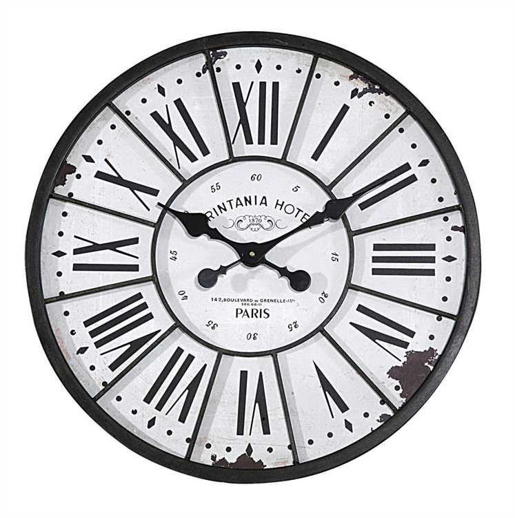 Parisian Hotel Turn Of The Century Roman Numeral Metal and Wood Wall Clock - 24-in - Mellow Monkey