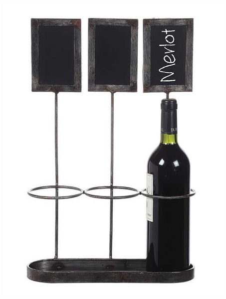 3 Bottle Metal Wine Holder with Individual Chalkboards - 17-1/4-in - Mellow Monkey