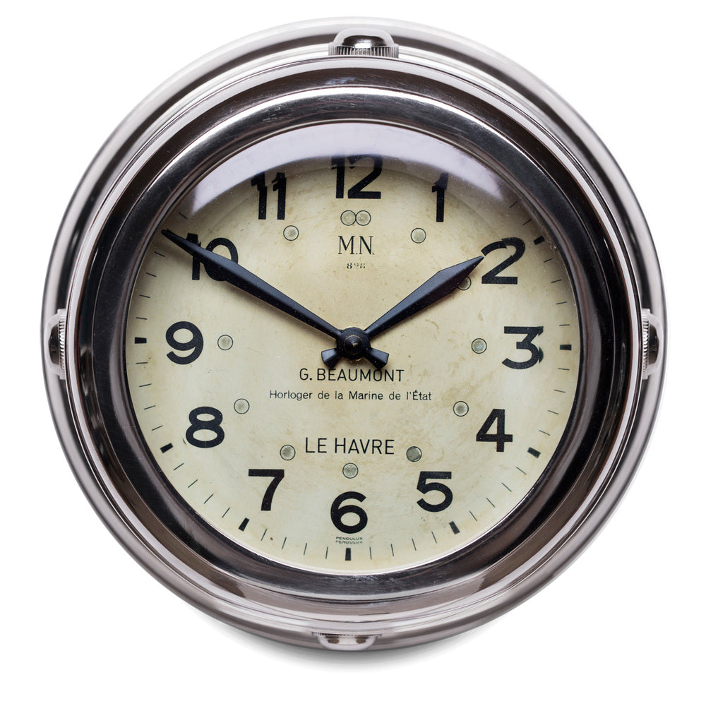 Deck Hand Nickel Plated Aluminum Wall Clock With Beveled Glass - 8-in