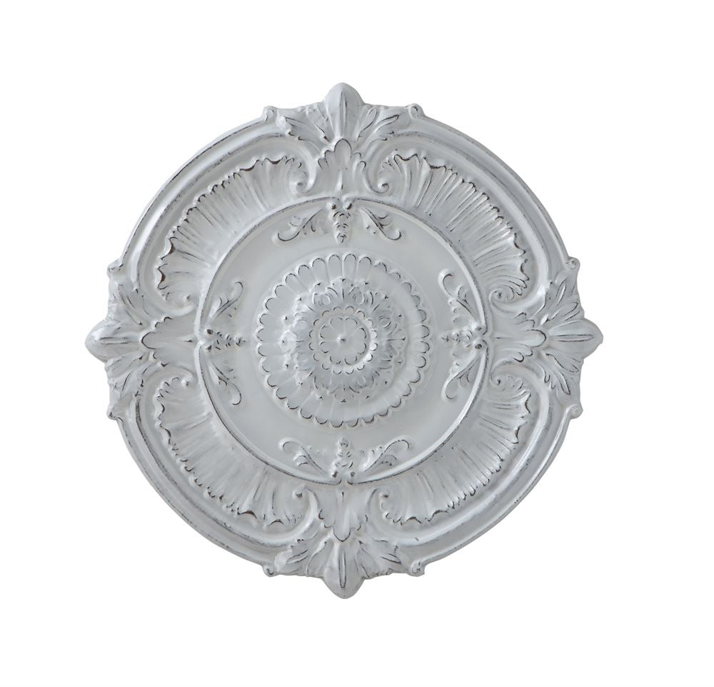Round Metal Ceiling Medallion | Distressed White Finish | 25-1/4-in ...