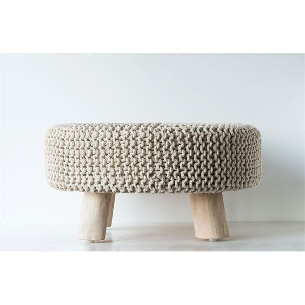 Neutral Wood and Cotton Knot Round Ottoman Stool - 25-in