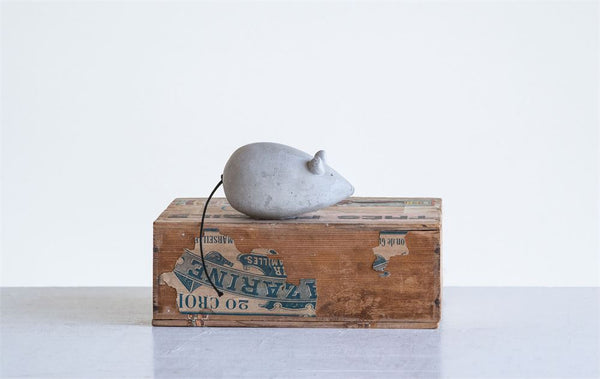 Grey Cement Shaped Cotton Tail Mouse Figurine - 4-3/4-in