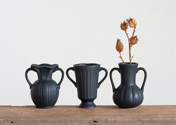 Ceramic Black Matte Bud Vases - Set of 3