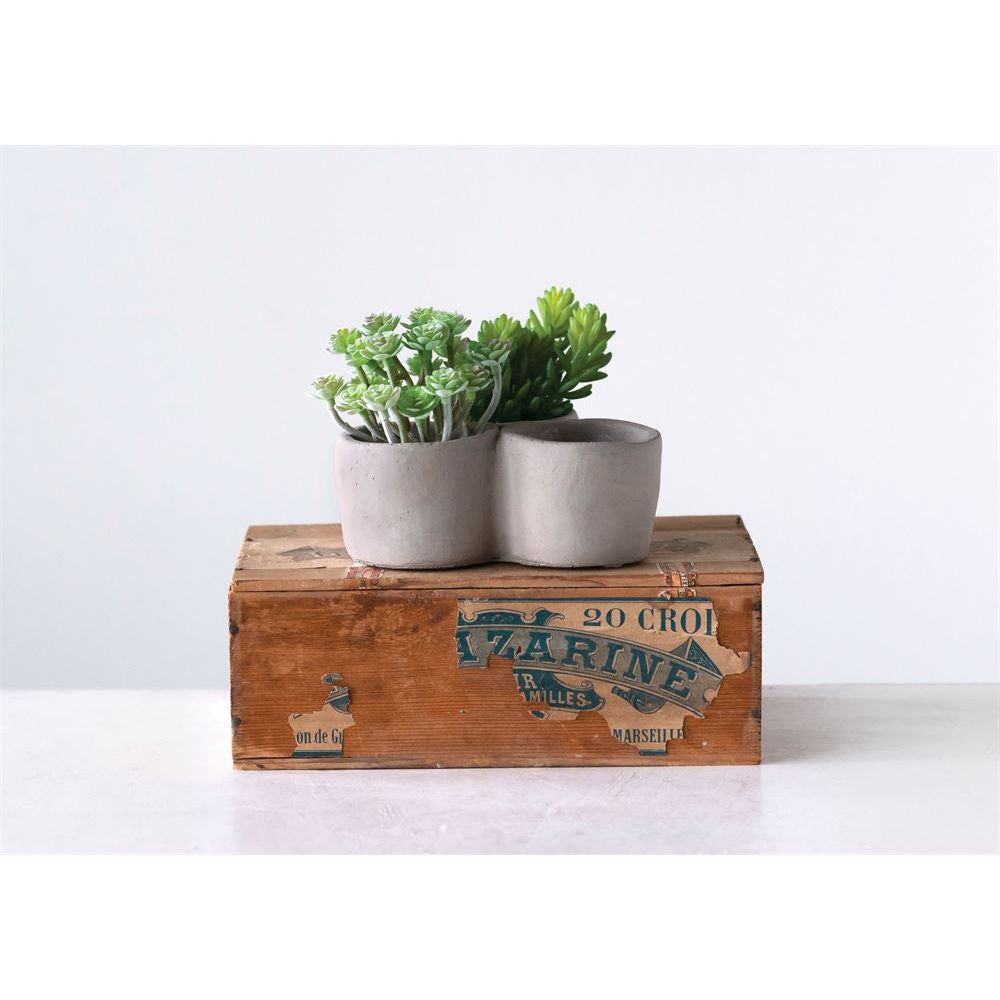 Decorative Grey Cement 3 Compartment Planter / Candle Holder
