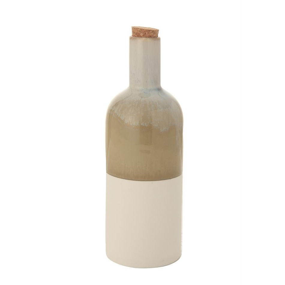 Decorative Ceramic Bottle with Two Toned Reactive Glaze and Matte Finish - 7-3/4-in
