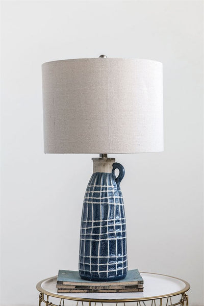 Stoneware Table Lamp w/ Embossed Grid Pattern - Blue 28-1/2-in