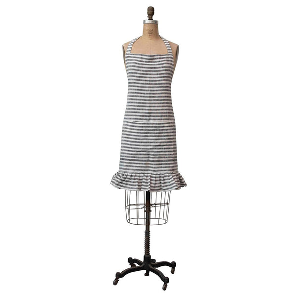 Ruffled Cotton Striped Pocket Apron - Grey and Cream