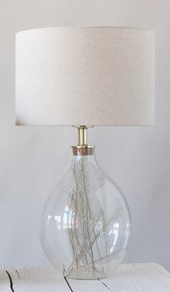Fillable Clear Glass Table Lamp w/ Linen Shade