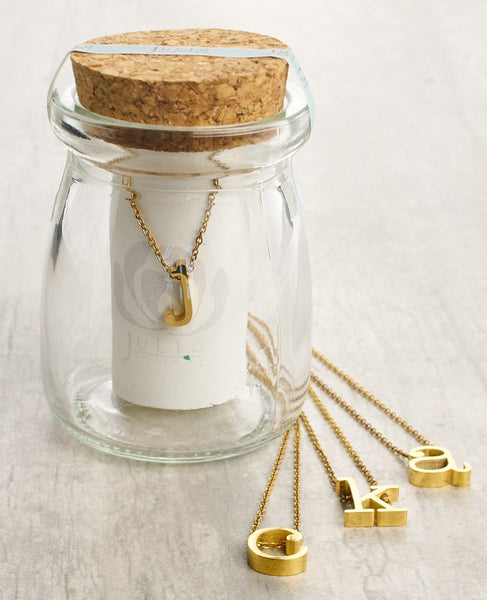 Spice Dimensional Lowercase Initial Necklace 16-18-in Gold