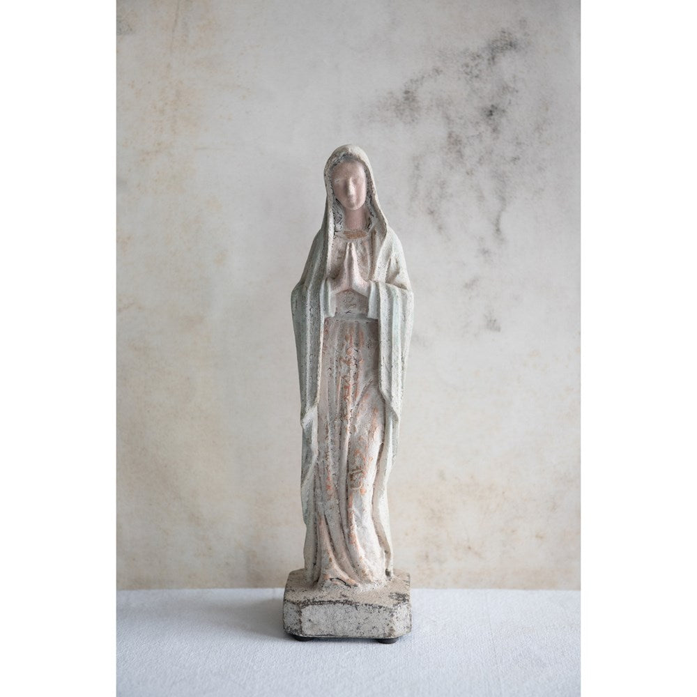 Vintage Reproduction Virgin Mary Statue - Cream - 12-in