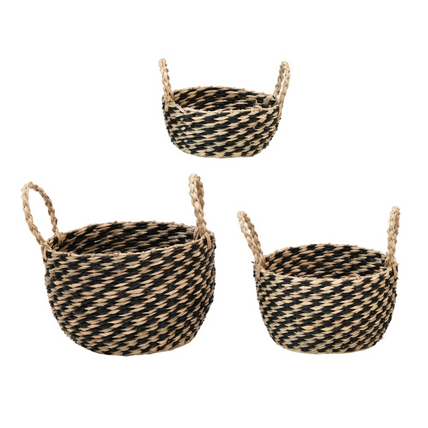 Black and Natural Hand-Woven Seagrass Baskets w/ Handles -Set of 3