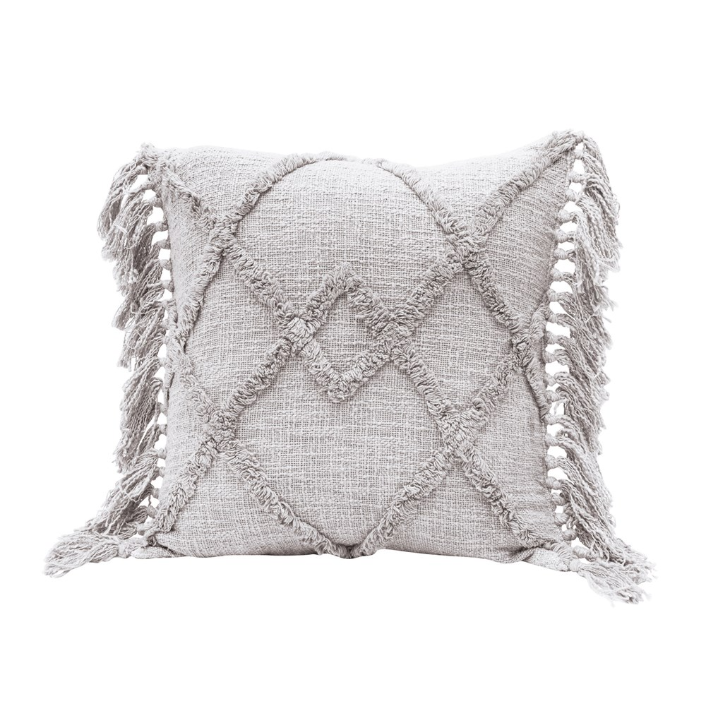 Square Cotton Blend Pillow With Tufted Pattern Tassels Grey 20 I Mellow Monkey