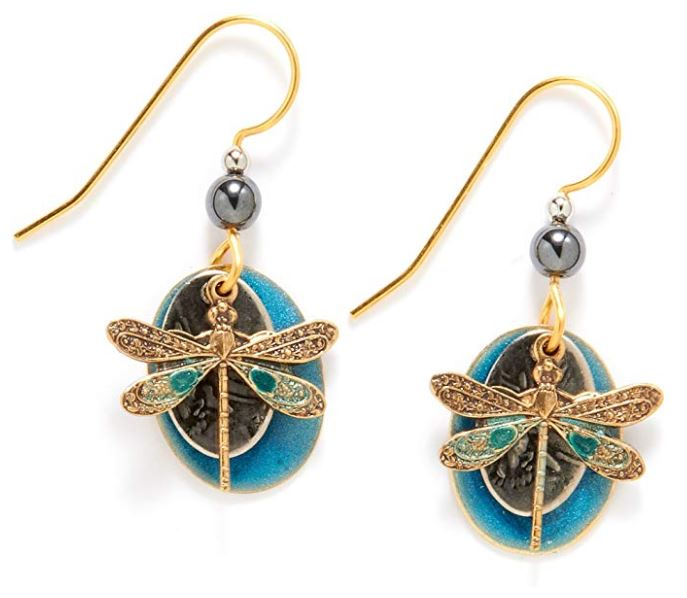Silver Forest of Vermont Gold Dragonfly Turquoise Enamel Dangle Earrings