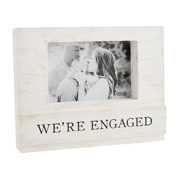 We're Engaged - Wood and Glass White Block Photo Frame - 9-in (for 4x6-in photo)