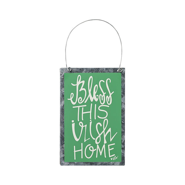 Bless This Irish Home - Green Painted Ornament Sign on Tin with Hanger 6-in