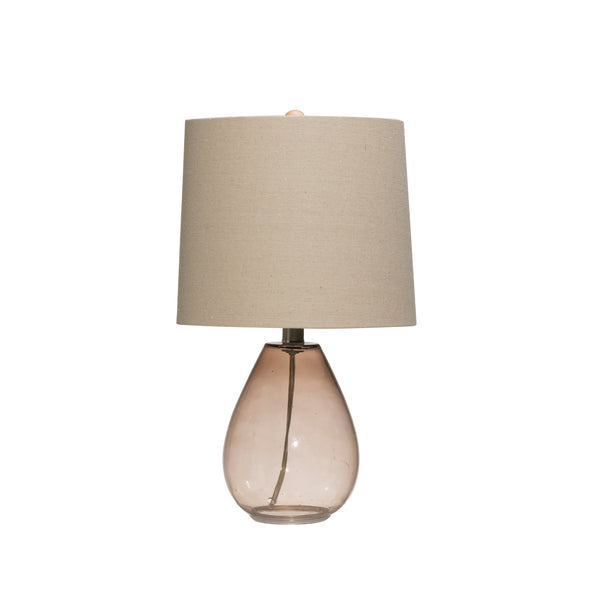 Transparent Brown Glass Table Lamp with Open Bottom & Linen Shade