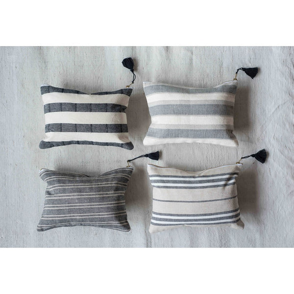 Striped Cotton Pouch With Tassel - 10-in