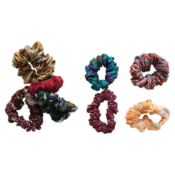 Found Sari & Elastic Jammu Hair Scrunchies - Set of 4 (Each One Will Vary)