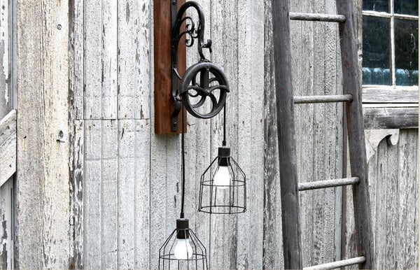 Vintage Double Head Pulley Sconce Lamp