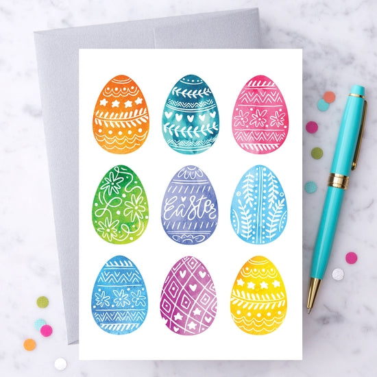 Watercolor Decorated Easter Eggs Greeting Card