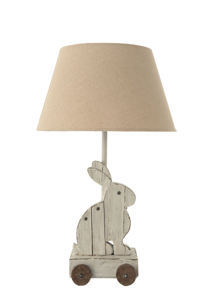 Vintage Rabbit Rolling Toy Lamp with Linen Shade