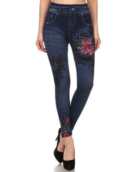 Stone Wash Fashion Jean Leggings - Mellow Monkey  - 1