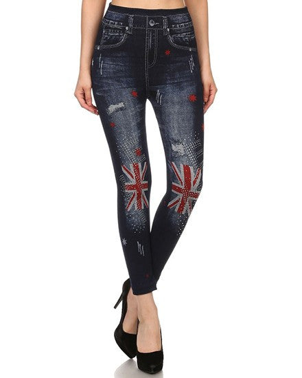 Stone Wash Fashion Jean Leggings - Mellow Monkey  - 2