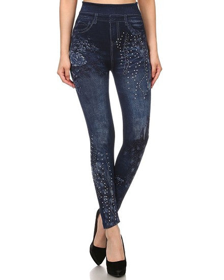 Stone Wash Fashion Jean Leggings - Mellow Monkey  - 3