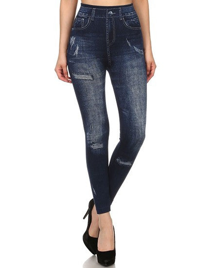 Stone Wash Fashion Jean Leggings - Mellow Monkey  - 4
