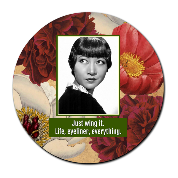 Just Wing It. Life, Eyeliner, Everything - Compact Pocket Mirror - 3-in